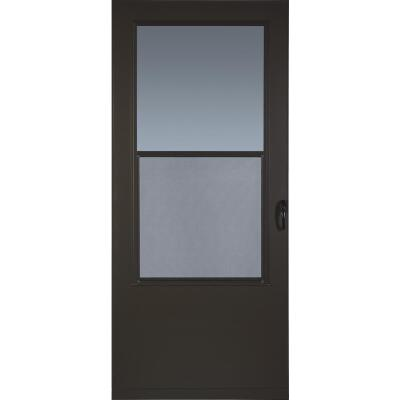 Larson Value-Core 32 In. W. x 80 In. H. x 1 In. Thick Brown Self-Storing Aluminum Storm Door