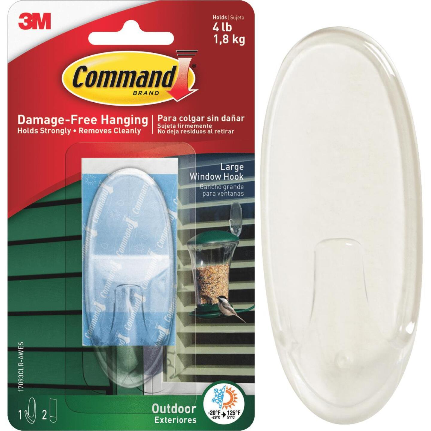 Command Large Adhesive Outdoor Window Hook Image 1