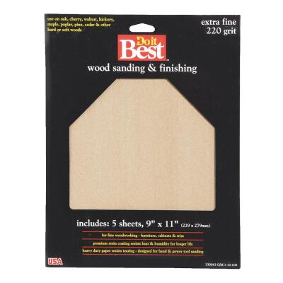 Do it Best Bare Wood 9 In. x 11 In. 220 Grit Extra Fine Sandpaper (5-Pack)