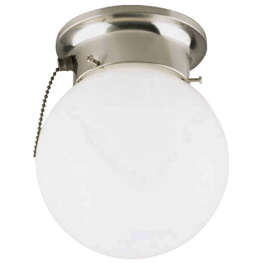 Home Impressions 6 In. Brushed Nickel Incandescent Flush Mount Ceiling Light Fixture with Pull Chain