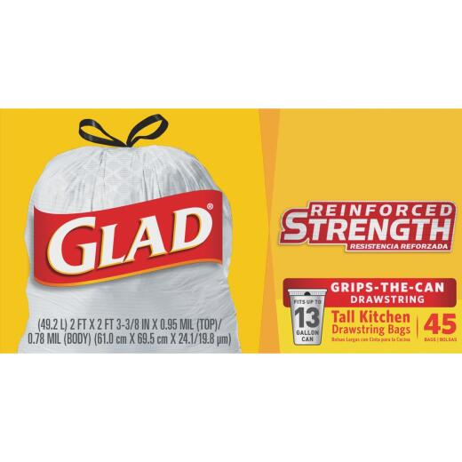 Glad 13 Gal. Tall Kitchen White Reinforced Strength Trash Bag (45-Count)
