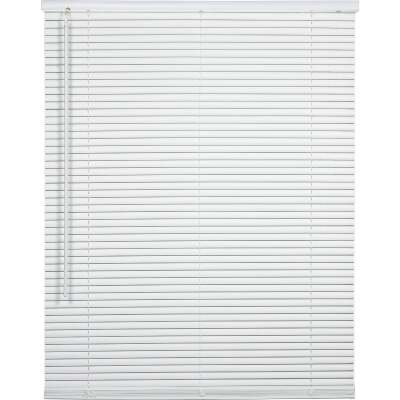 Home Impressions 26 In. x 64 In. x 1 In. White Vinyl Light Filtering Cordless Mini Blind