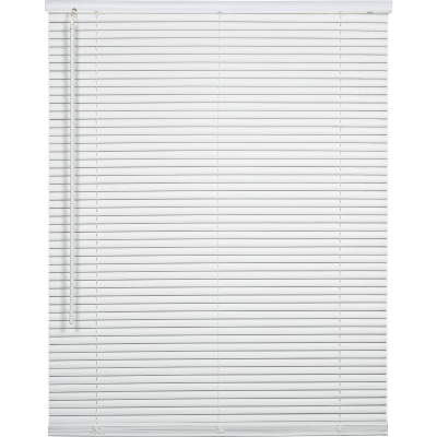 Home Impressions 29 In. x 64 In. x 1 In. White Vinyl Light Filtering Cordless Mini Blind