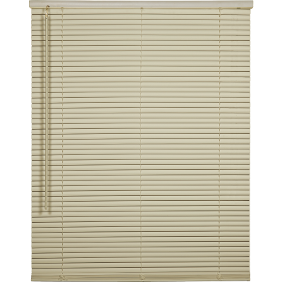 Home Impressions 35 In. x 64 In. x 1 In. Vanilla Vinyl Light Filtering Cordless Mini Blind