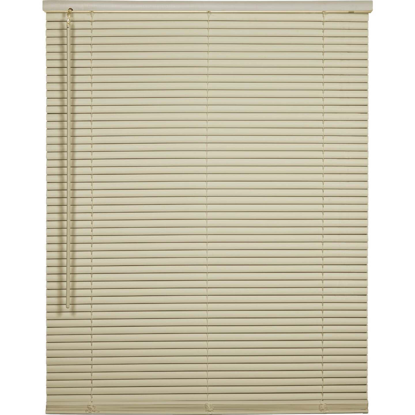 Home Impressions 70 In. x 64 In. x 1 In. Vanilla Vinyl Light Filtering Cordless Mini Blind Image 1