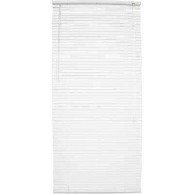 Home Impressions 21 In. x 64 In. White Vinyl Light Filtering Corded Mini-Blinds