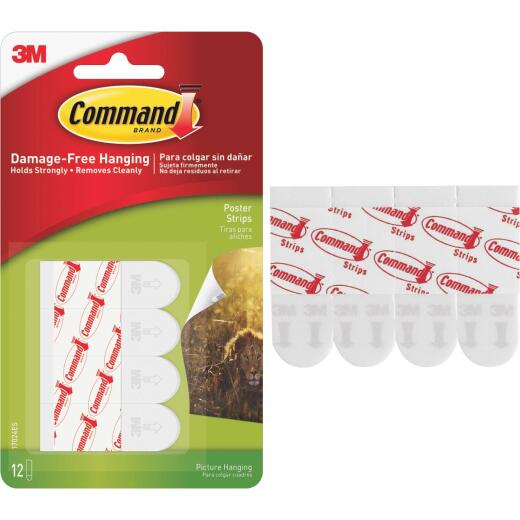 3M Command 3.87 In. x 0.23 In. 1 Lb. Capacity Removable Poster Mounting Strips (12-Pack)