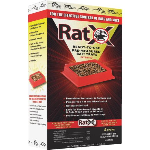 RatX Disposable Rat & Mouse Pre-Measured Bait Tray (4-Pack)