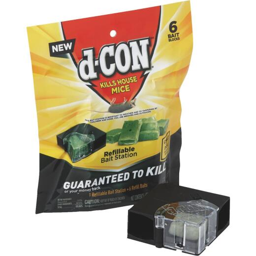 D-Con Refillable Corner Fit Mouse Bait Station (6-Refill)