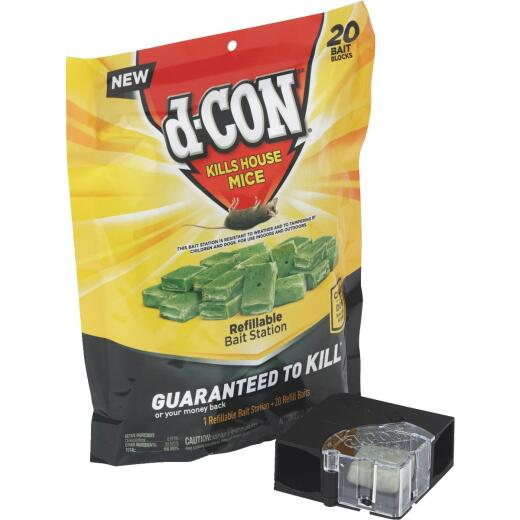 D-Con Refillable Corner Fit Mouse Bait Station (20-Refill)