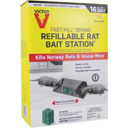 Victor Fast-Kill Refillable Rat Bait Station (6-Refill)
