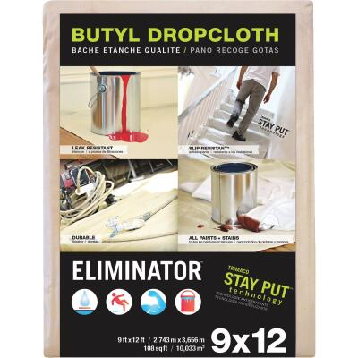 Trimaco Eliminator Butyl-Back Canvas 9 Ft. x 12 Ft. Heavy-Duty Drop Cloth