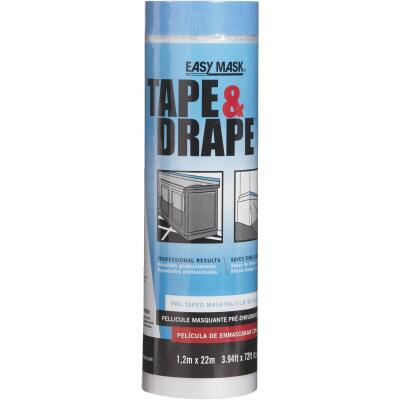 Trimaco Tape & Drape Pre-Taped Plastic 4 Ft. x 75 Ft. 1/2 mil Drop Cloth
