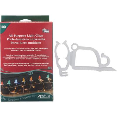 Adams White Gutter & Shingle All-Purpose Light Clips (100-Pack)